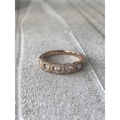 Wb063 ~ Diamond ~ .46Ct Round Rose Gold Wedding Band - Bands