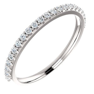Wb065 ~ Diamond ~ 0.38Ct Round White Gold Wedding Band - Bands