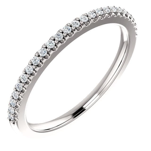 Wb066 ~ Diamond ~ .27Ct Round White Gold Wedding Band - Bands