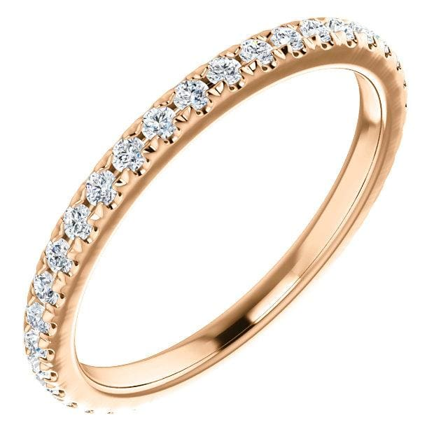 Wb072 ~ Diamond ~ 0.40Ct Rose Gold Wedding Band - Bands