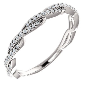 Wb074~ Diamond ~ 0.25Ct Infinity White Gold Wedding Band - Bands