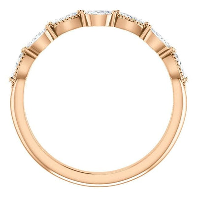 Wb095 ~ Diamond ~ 0.33Ct Marquise Rose Gold Wedding Band - Bands