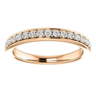 Wbm0060 ~ Moissanite .30 Ct Round Rose Gold Wedding Band - Bands