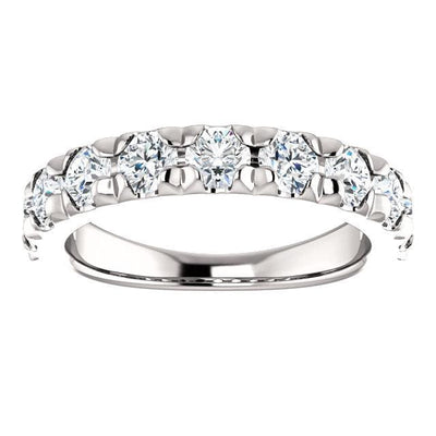 Wbm0092 ~ Moissanite ~ 1.44Ct White Gold French Set Wedding Band - Bands
