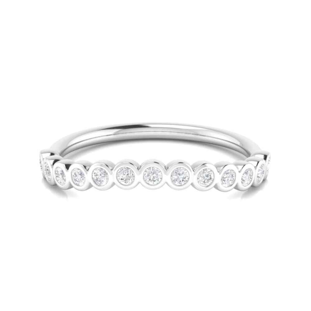 Wbm023 ~ Moissanite 0.20Ct Round White Gold Serena Wedding Band - Bands