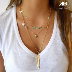 Mystic feather layered necklace