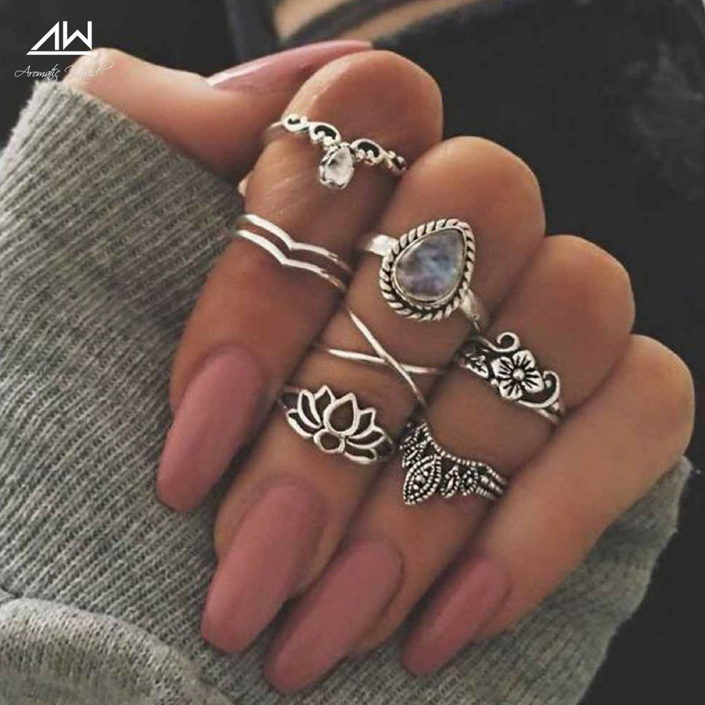 Crystal Lotus Flower ring set