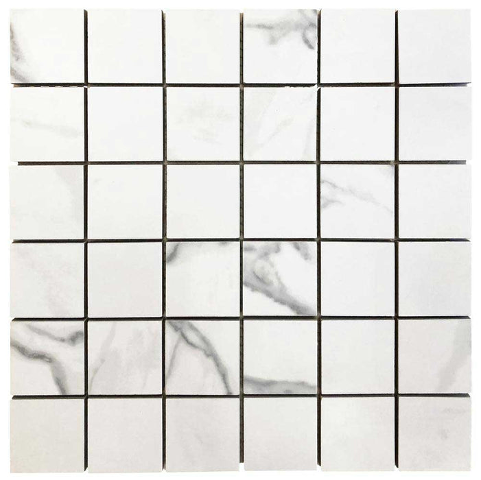 "Calacatta Porcelain Mosaic Hexagon 3"" x 3""- sold by piece"