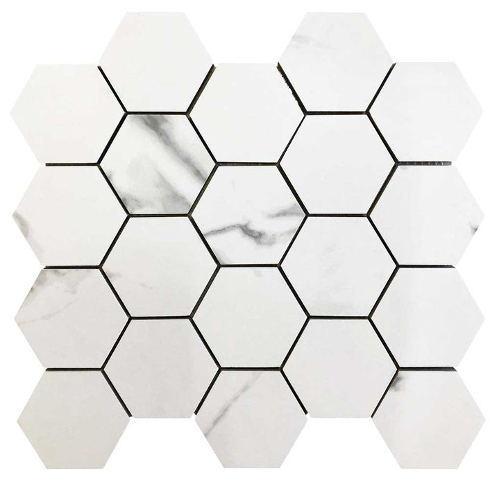 "Calacatta Porcelain Mosaic Square 2"" x 2""- sold by piece"