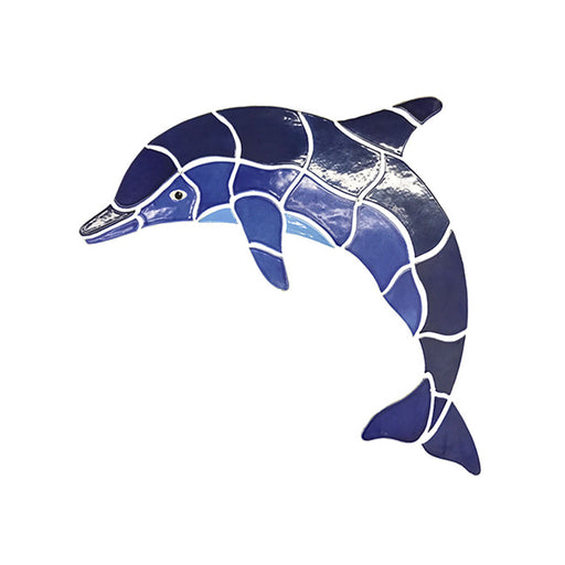 Dolphin Fujiwa Large/Small Watermark Mosaic Pool Tile