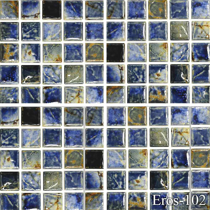 "EROS-104 Summer Fujiwa Porcelain Pool Tile 1"" x 1"" Made In JAPAN"