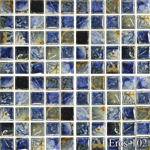 "EROS-102 Autumn Fujiwa Porcelain Pool Tile 1"" x 1"" Made In JAPAN"