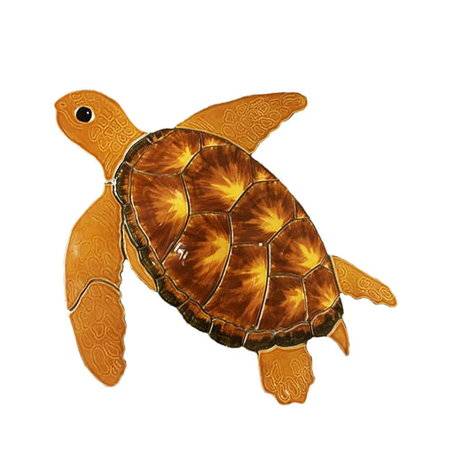 Fujiwa Turtle Brown Large/Small Watermark Mosaic Pool Tile