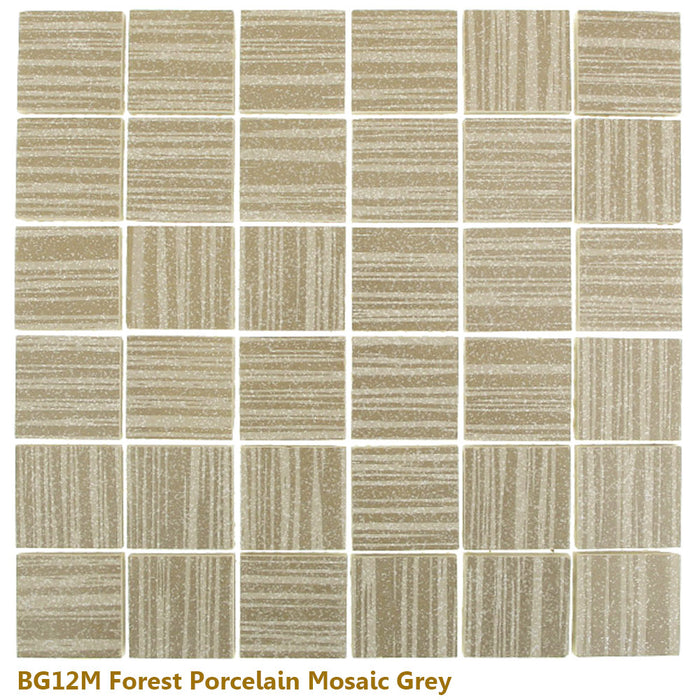 "Glazed Forest WHITE Porcelain Mosaic 12"" x 12"""