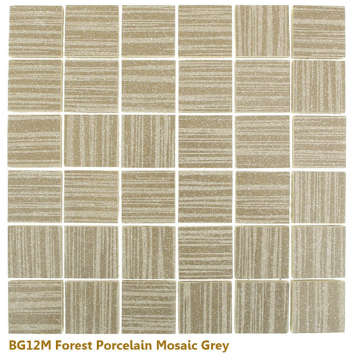 "Glazed Forest GREY Porcelain Mosaic 12"" x 12"""