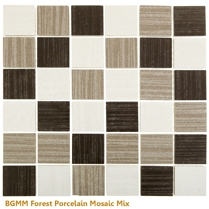 "Glazed Forest BLACK Porcelain Mosaic 12"" x 12"""