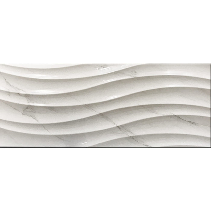 "Calacatta White Wave-Ceramic Tile 12"" x 36"""