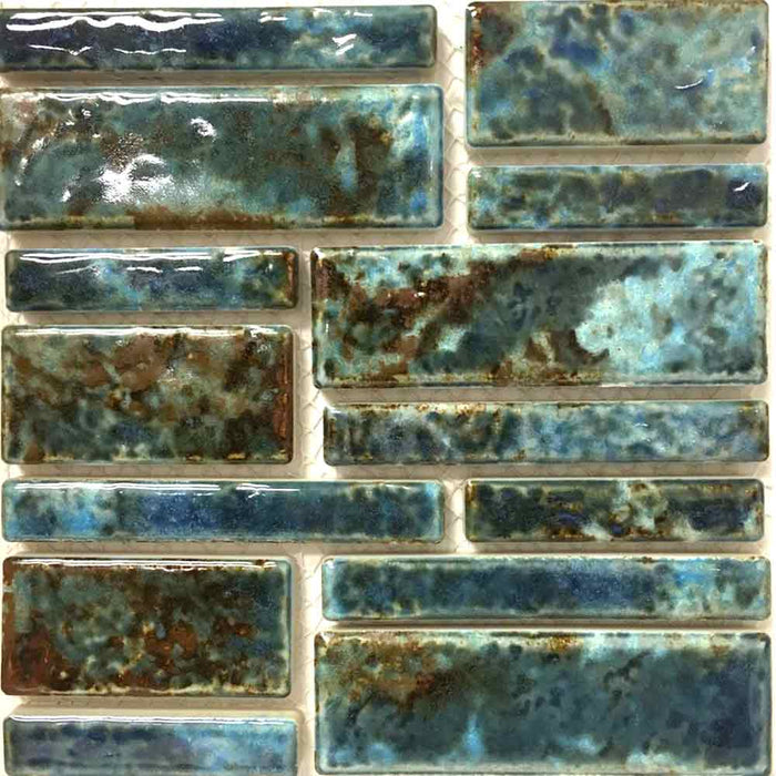 Pilos-402 Autumn Blue Fujiwa Porcelain Pool Tile Random Made In JAPAN