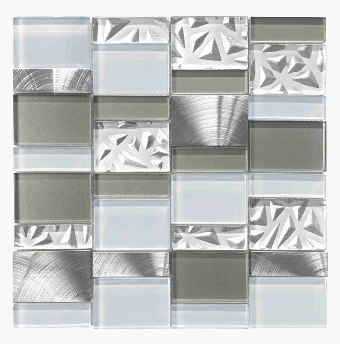 ROYAL133 Glass Marble Metal Mosaic - sold by piece