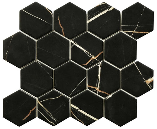 VR14 Verona Nero Marquina Recycled Glass 12 x 12 Hexagon Mosaics (3x3 chips)