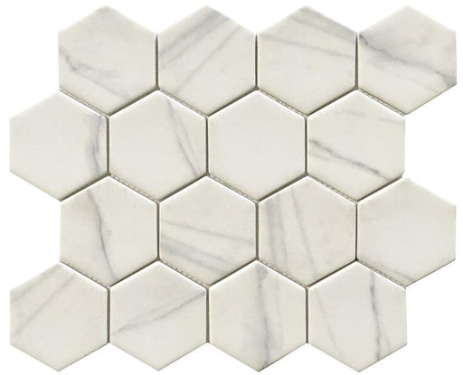 VR50 Verona Calacatta Recycled Glass 12 x 12 Hexagon Mosaics (3x3 chips)