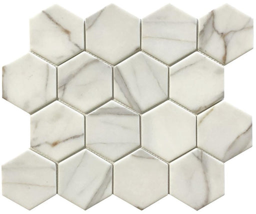 VR54 Verona GOLD Calacatta ORO Recycled Glass 12 x 12 Hexagon Mosaics (3x3 chips)
