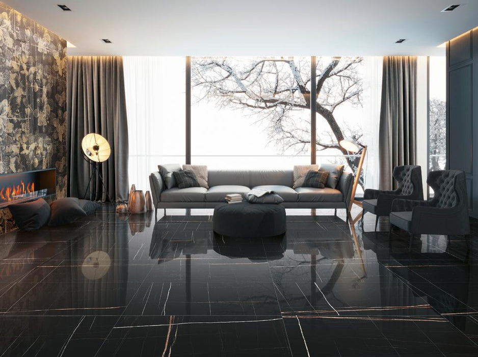 "Marmi Sahara Noir Polished Large Format Porcelain Tile 24"" x 48"""