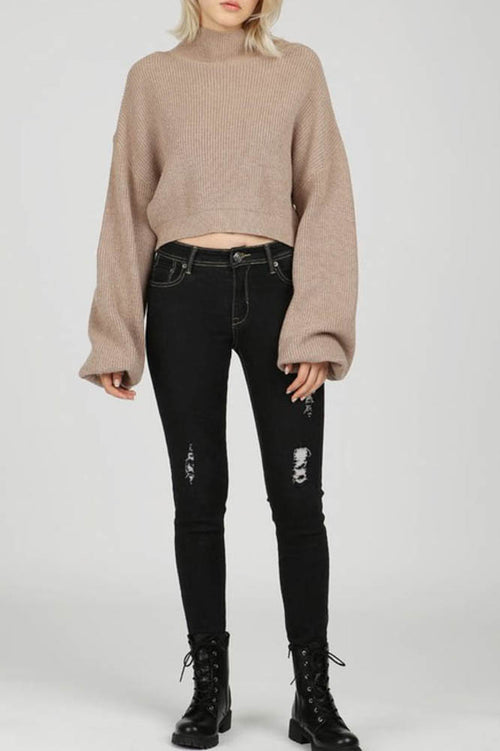 Taupe Mock Neck Balloon Sleeve Crop Top