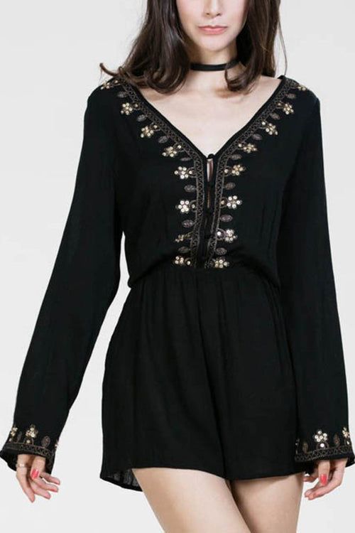 Bell Sleeved Embellished Romper
