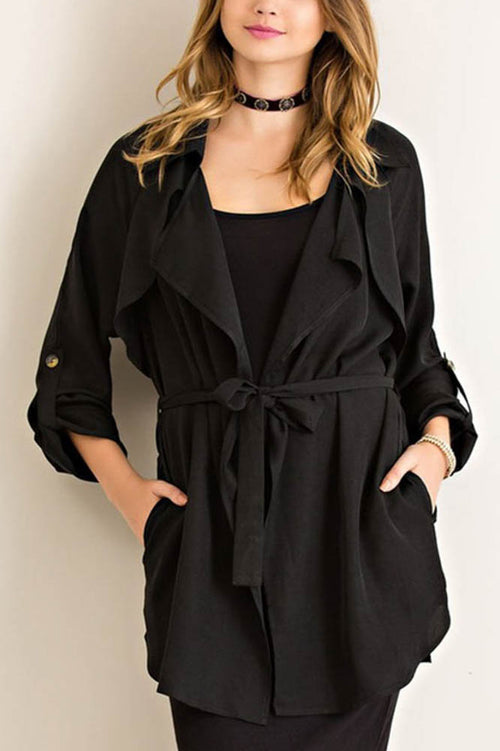 Black Open Trench Coat