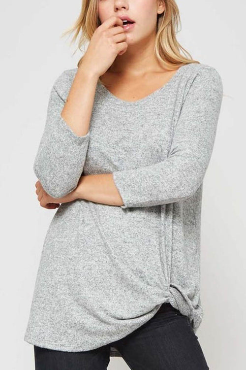 Hacci Brush Knit Top in Heather Grey