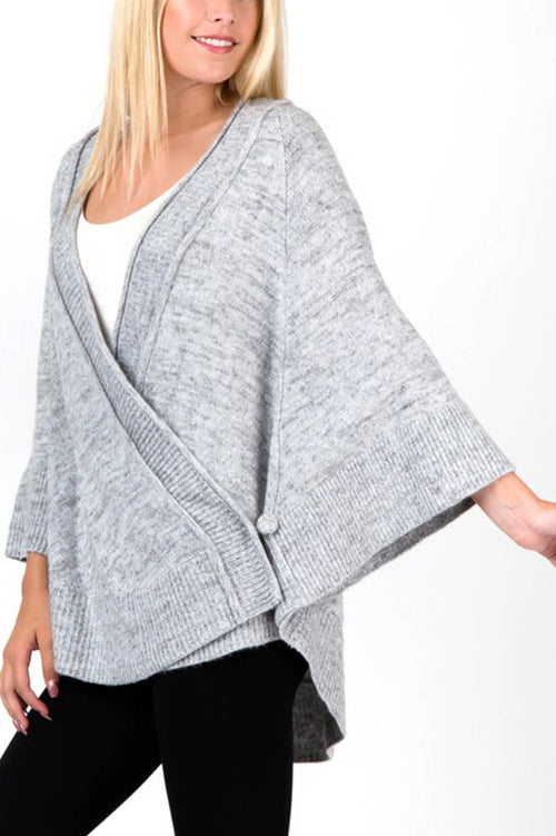Grey Bat Sleeve Wrap Poncho Cardigan