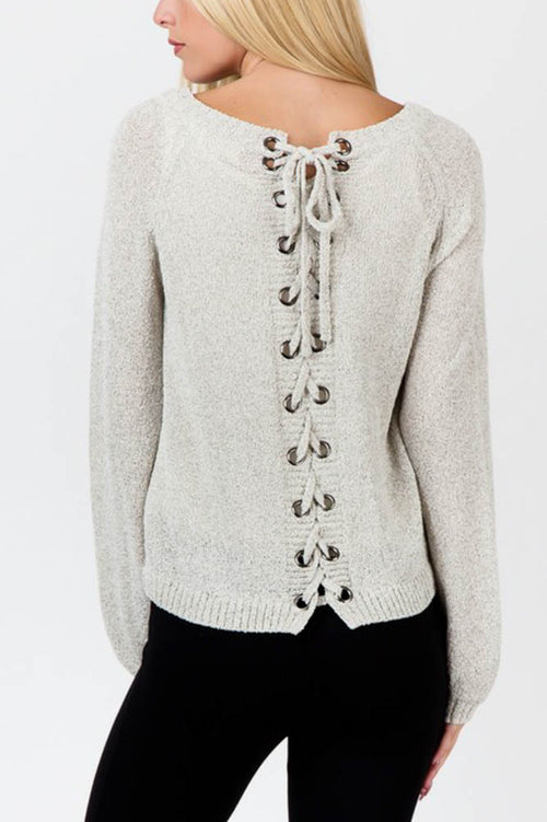 Oatmeal Lace Up Grommets Chunky Knit Sweater