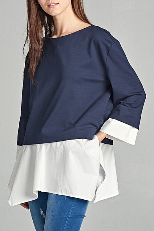 Navy Blue Contrast Detail 3/4 Sleeve Top