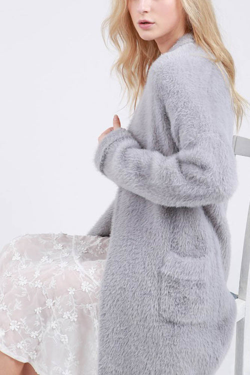 Grey Long Open Mohair Sweater Cardigan