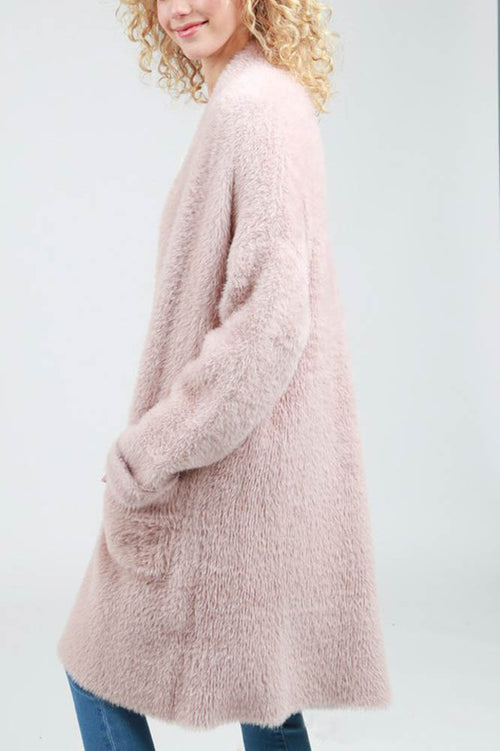 Pink Long Open Mohair Sweater Cardigan