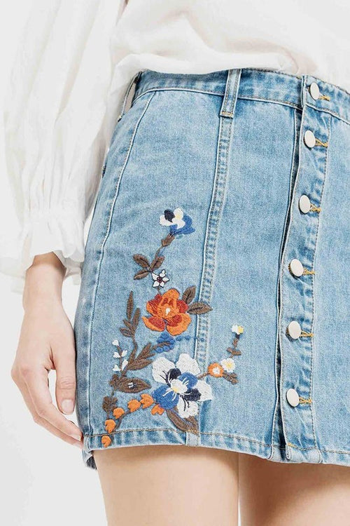 Trendy Floral Denim Skirts