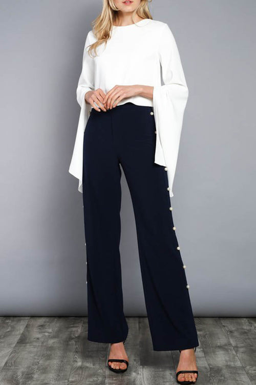 Navy Pearl on the Side Trousers
