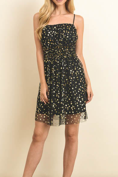 Spaghetti Strap Dress with Star Print