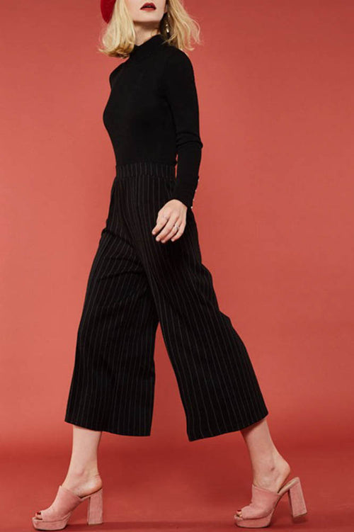 Black Stripe High-Rise Pants