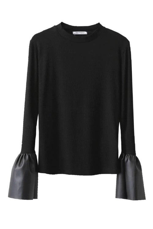 Black Sexy& Chic Bell Sleeve Top