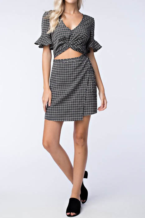 Ruffle Sleeve Dress with Midriff Cutout