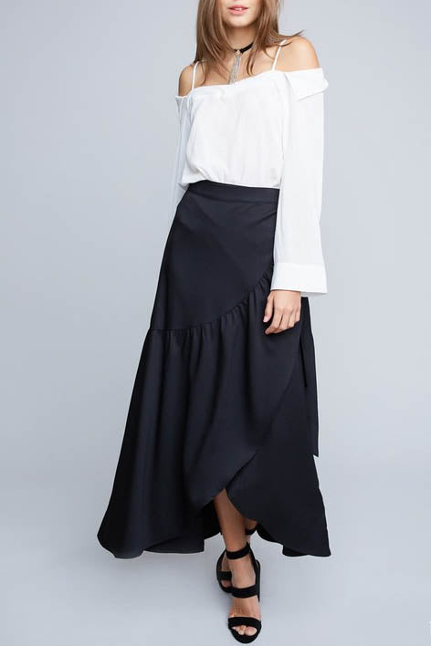 Asymmetrical Ruffled Wrap Maxi Skirt