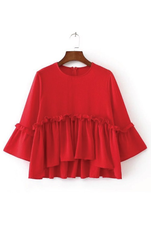 Red Blouse with Flounce