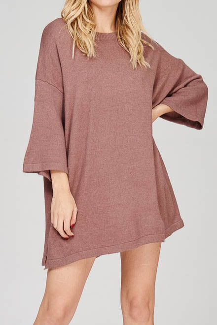 Loose Fitted Shirt Dress with Lace Up Detail