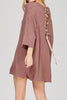 Loose Fitted Shirt Dress with Lace Up Detail - A CONCEPT