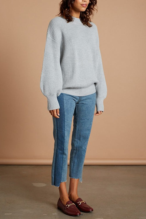 Grey Chunky Mock Neck Oversize Sweater