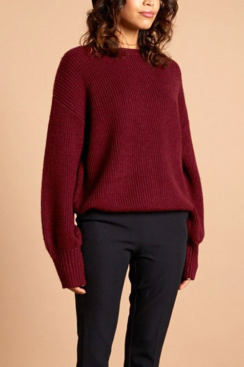 Burgundy Chunky Mock Neck Oversize Sweater