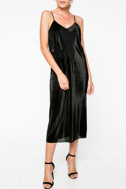 Black Shimmering Midi Dress