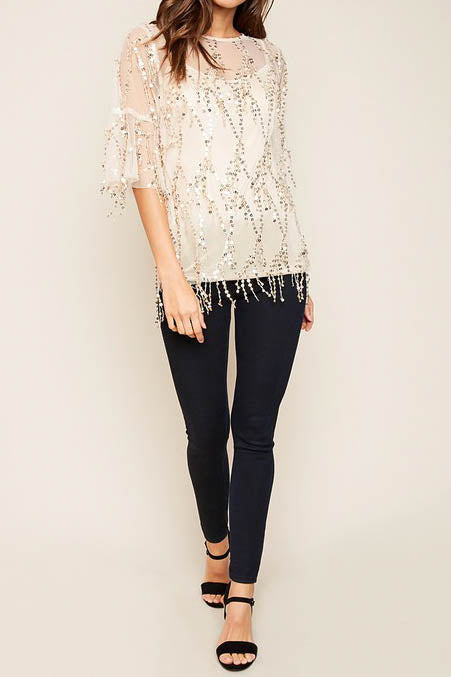 Sheer Sequined Top
